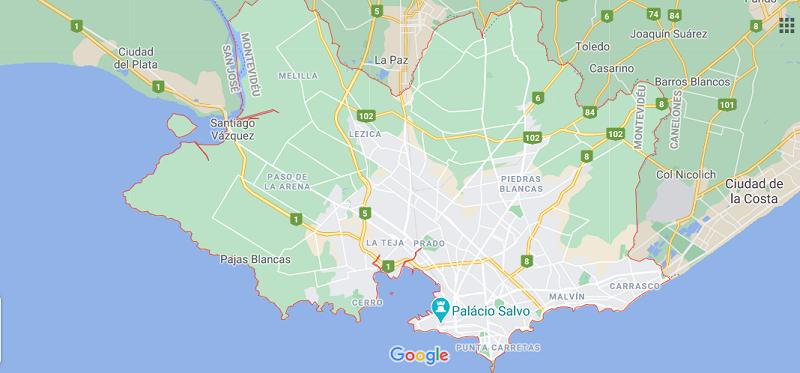 Mapa de Montevidéu - Bairros e regiões