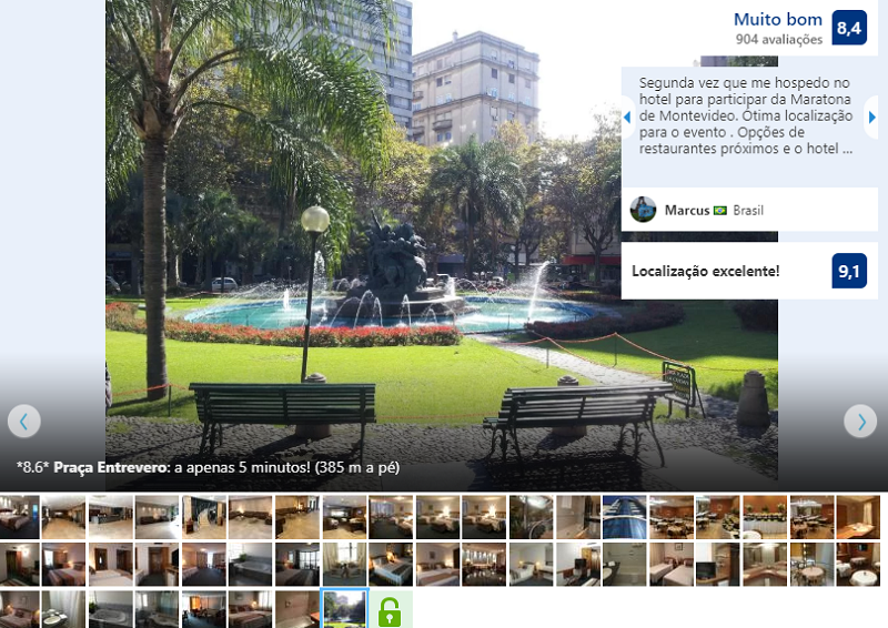 Fachada do Crystal Palace Hotel em Montevidéu