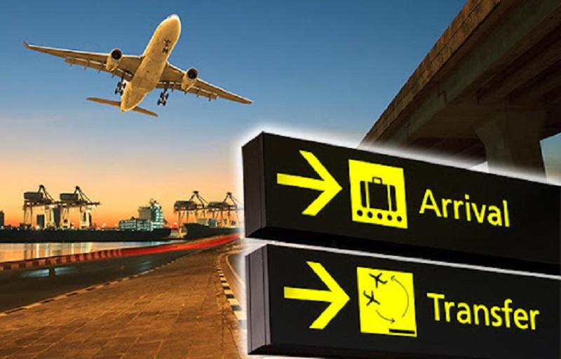 Placa de transfer em aeroporto